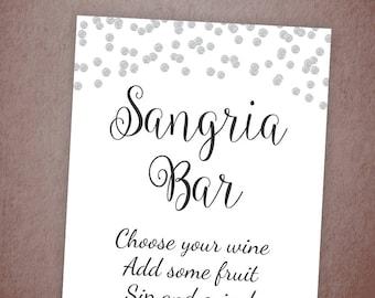 Sangria Bar Sign Printable, Fruit Drink Bar Sign, Silver Confetti Wedding Signage, Bridal Shower Decor, Cocktail Drinks Sign, A003