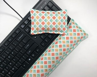 Keyboard Wrist Rest / Coral Mint Green Gold / Rice Flax seed Bag / Carpal Tunnel Support / Mouse Wrist Rest / Tech Gift