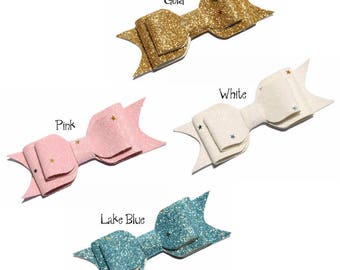 9.5cm Newborn Three Layers Glitter Gold Powder Hair Bows for Hair Clips Handmade Stars Hairbows for Girls Hair Accessories