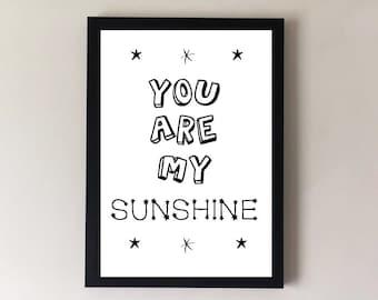 You are my sunshine, nursery print, childrens print, nursery wall art, childrens wall art, nursery decor, childrens decor, nursery art