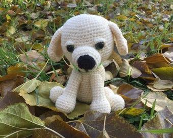 Knitted dog Crochet white dog Crochet puppy toy Amigurumi dog toy Stuffed dog Animal nursery dog Amigurumi animals Handmade toy dog