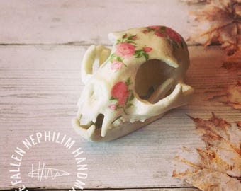 Cat Skull Curiosity Display Piece, Curio Cabinet Oddities Oddity, Taxidermy Resin Bone with Pink Roses, Vegan Friendly!