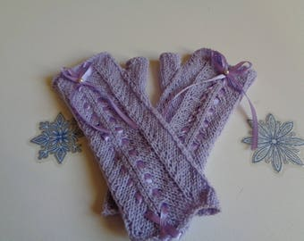 FINGERLESS GLOVES ROMANTIC KNITTED HANDS WITH RIBBON