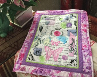 Butterfly Floral Quilted Patchwork Table Topper Tray Cloth Wall Hanging