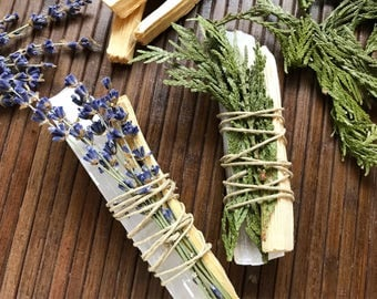 Palo Santo and Selenite Crystal Smudge Incense Bundle