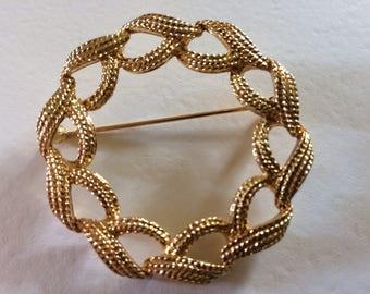 MONET* Vintage Gold Tone Open Work Brooch, Signed