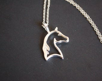 Silver tone  horse head necklace