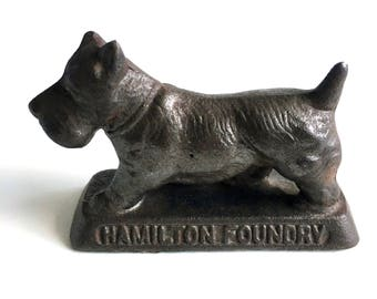 Hamilton Foundry Quality Castings Cast Iron Scottish Terrier Paper Weight Scottie Scotty