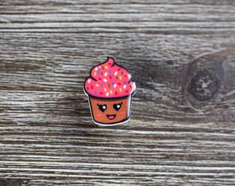 Cupcake Pin - Sprinkles Pins - Dessert Pin - Cute Shrinky Dink Jewelry - Food Jewelry - Custom Design Pins