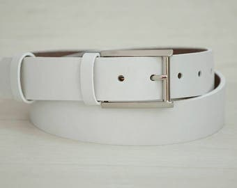 Leather Belt, White Leather Belt, Mens Belt