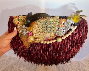 Shabby Chic Clutch, Romantic Boho Purse, Bohemian Clutch, Baroque inspired Clutch, Victorian Clutch, Party Handbag