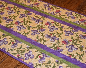 Purple and Gold Quilted Table Runner, Purple Table Runner, Gold Table Runner, Purple Green Runner, Quilted Table Runner, Table Runner Quilt