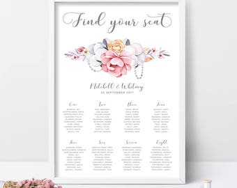 Printable Wedding Seating Chart, Floral Wedding Seating Chart, Wedding Reception Seating Chart, Seating Chart Wedding, Printable Wedding