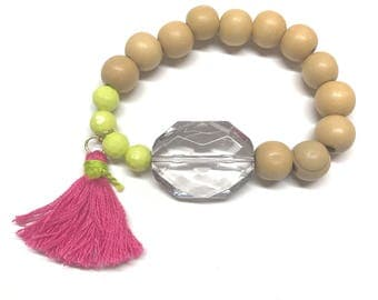 Lime, pink, and wood bead bracelet