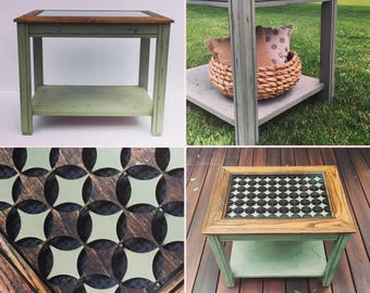 Refurbished modern vintage oak table, laser cut circle inlay, glass top, rustic end table, mid century modern, nightstand, bedside table,