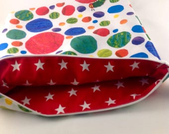 Fully lined Projectbag with Very hungry Caterpillar fabric