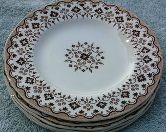 5 Lille Wedgewood bread and butter plates brown