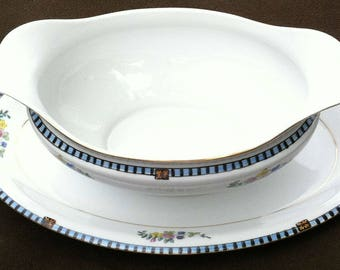 Sheridan Noritake 69533 gravy boat and attached plate