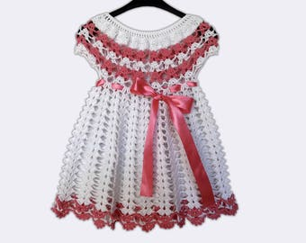 Hand Knitted Dress Up Clothes Baby Crochet Frock White Baby Dress Baby Fancy Dress Crochet Baby Frock Fancy Baby Dress Summer Baby Dress