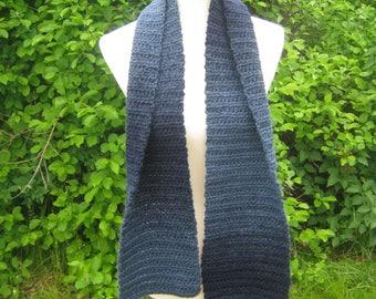 Crochet Scarf; Handmade; Blue