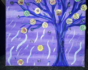 Button tree painting on canvas