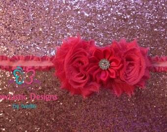 Pink Shabby Flower Headband, Baby Girl Headband, Baby, Shabby, vintage, Elastic Headband