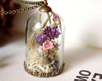 Flower garden terrarium necklace,terrarium jewelry,real flower pendant,real moss pendant,secret garden,mini terrarium,perfect gift,birthday