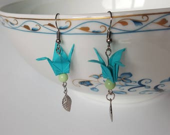 Celedon green cranes origami earrings
