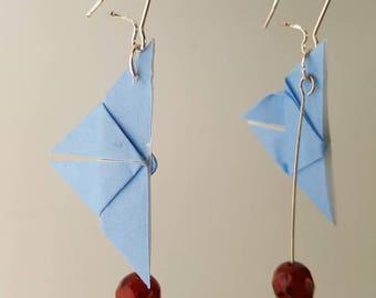 Silvered blue origami butterfly earrings