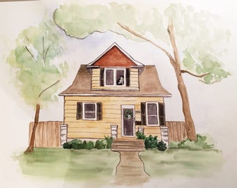 Watercolor Home Painting / House Painting / House Illustration / Christmas Gift / Anniversary Gift for Him