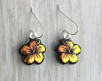 Dichroic Fused Glass Earrings - Orange Yellow Hibiscus Flower Laser Engraved Etched Earrings with Solid Sterling Ear Wires