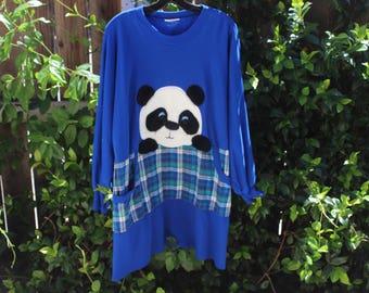 vtg oversize panda teddy bear sweater dress