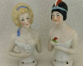 Set of 2 - Flapper Girl Porcelain Doll Busts (#243)