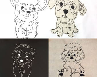 ALL 10 puppies! 7x5 hoops, Puppy embroidery patterns . Easy ITH patterns Instant download. By Pixie Willow Patterns