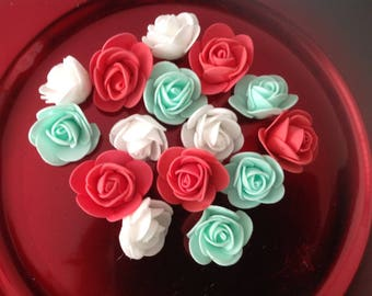 set of 15 green white red foam flowers
