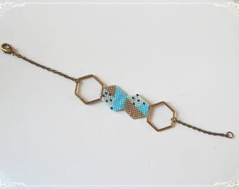 Bracelet, bronze chain, bronze, blue and Golden beige inserts