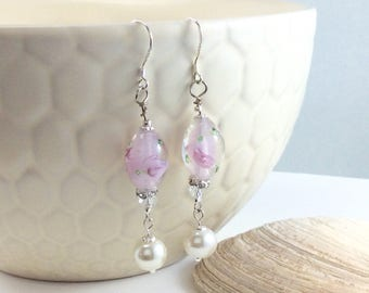 Pretty Pink Painted Lampwork Bead Czech Crystal and Pearl Drop/Dangle Earrings with .925 Silver Wires