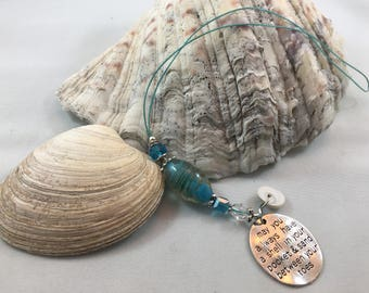 "Bright Blue Car Rearview Mirror Hanging ""may you always have a shell in your pocket...""Charm Suncatcher Ornament"