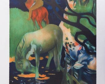 Paul GAUGUIN: Vahinee white horse - LITHOGRAPH signed #250EX + certificate