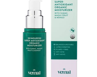 Vernal SKINourish Super Antioxidant Organic Moisturizer Anti-Aging Cream with USDA Certified Organic Maqui Berry, Primrose Oil & Aloe