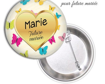 1 large model 75mm bride badge.. .personnalisable name date @5
