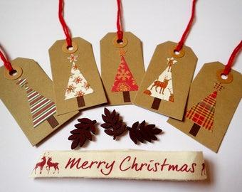 Christmas Gift Tags - Handmade gift Tags - Set of 5 Christmas Gift tags - Christmas Tree Gift Tags - Christmas Present Tags - Gift Tags