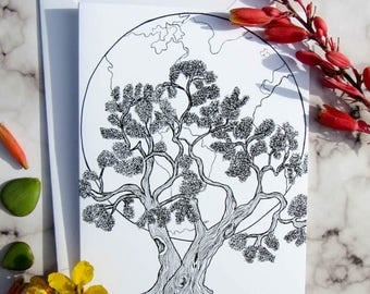 Oak tree Illustration Card/Tree notecard/blank notecard/ black and white illustration/ blank card pack/Tree Print/coloring card/CC-33