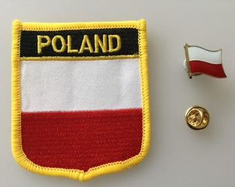 Poland Shield Country Flag Embroidered Patch and Pin Badge Set