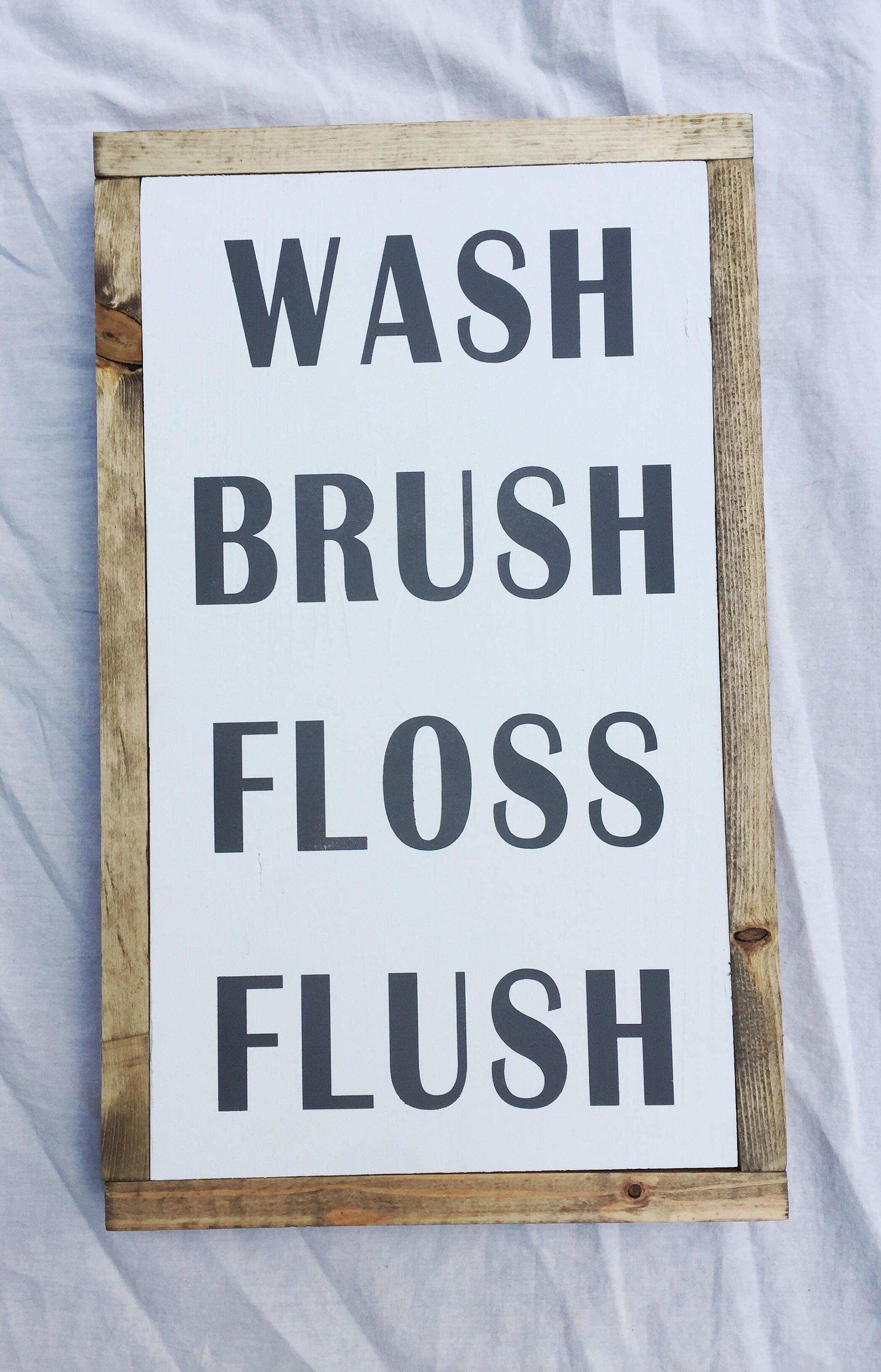decor fullxfull cute bath sign p bathroom brush flush guest floss il wash wooden
