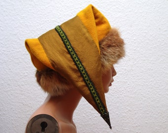 CAP, Middle Ages, Viking, Rus, Brettchenborte, fur fox Genuine, Gr. 61, wool, plant dyed, silk, plant dyed, linen, Birka