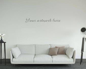Styled stock, Mock ups, Empty wall mockup, Living room, Wall stickers, Wall decor, Digital product mockup, Wall decal, Photography mockup