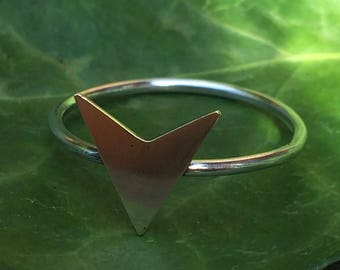 Arrow head boho tribal single band sterling silver and brass ring