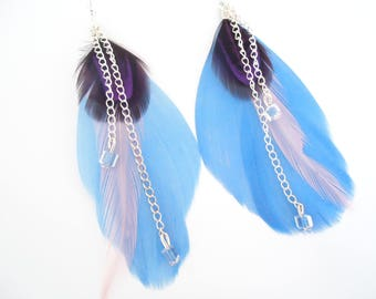 Blue/purple feather earrings