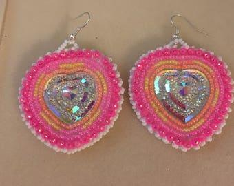 Pink Neon Heart Earrings